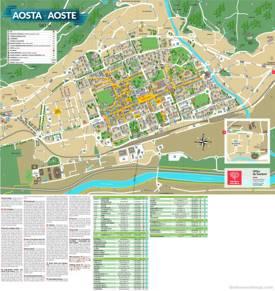 Aosta Tourist Map