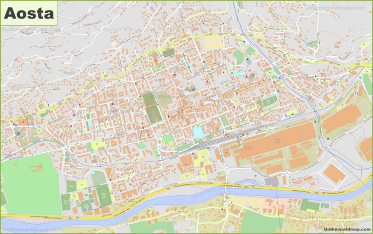 Detailed Map of Aosta