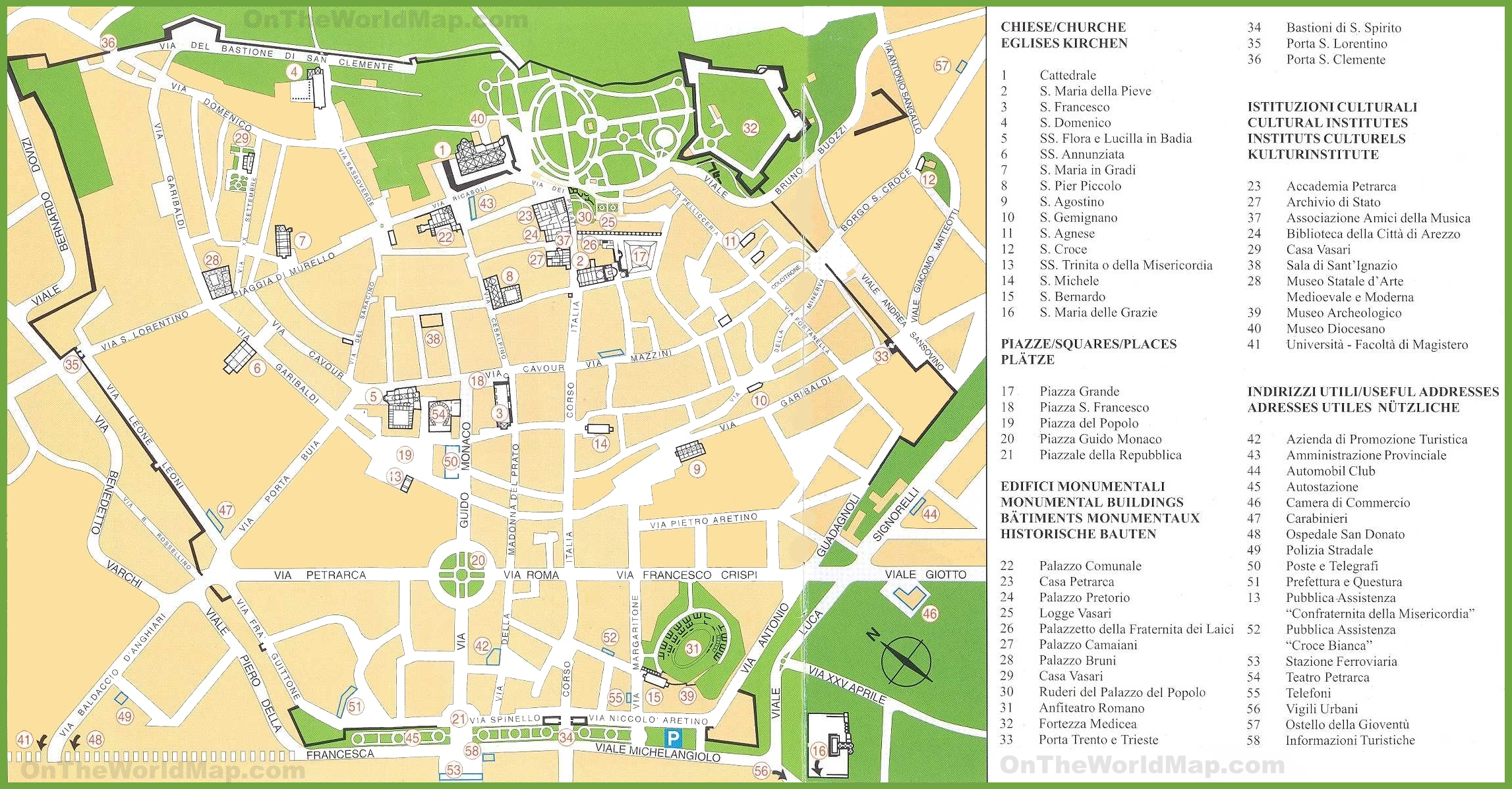 Arezzo tourist attractions map – Italy Tourist Attractions Map