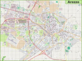 Large detailed map of Arezzo
