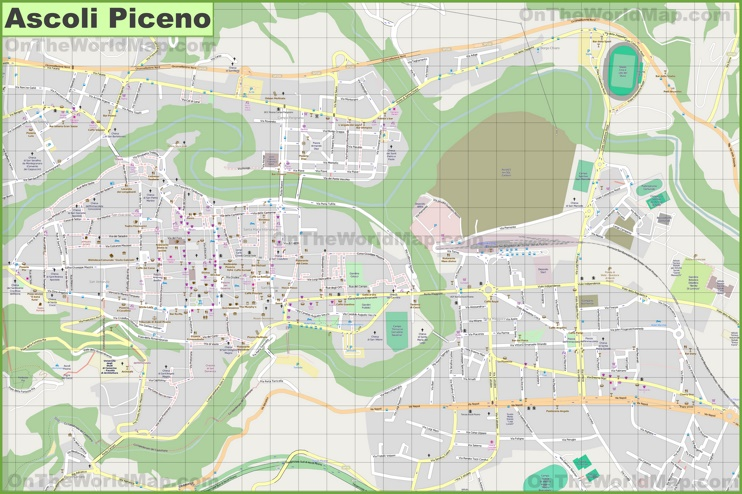 Large detailed map of Ascoli Piceno