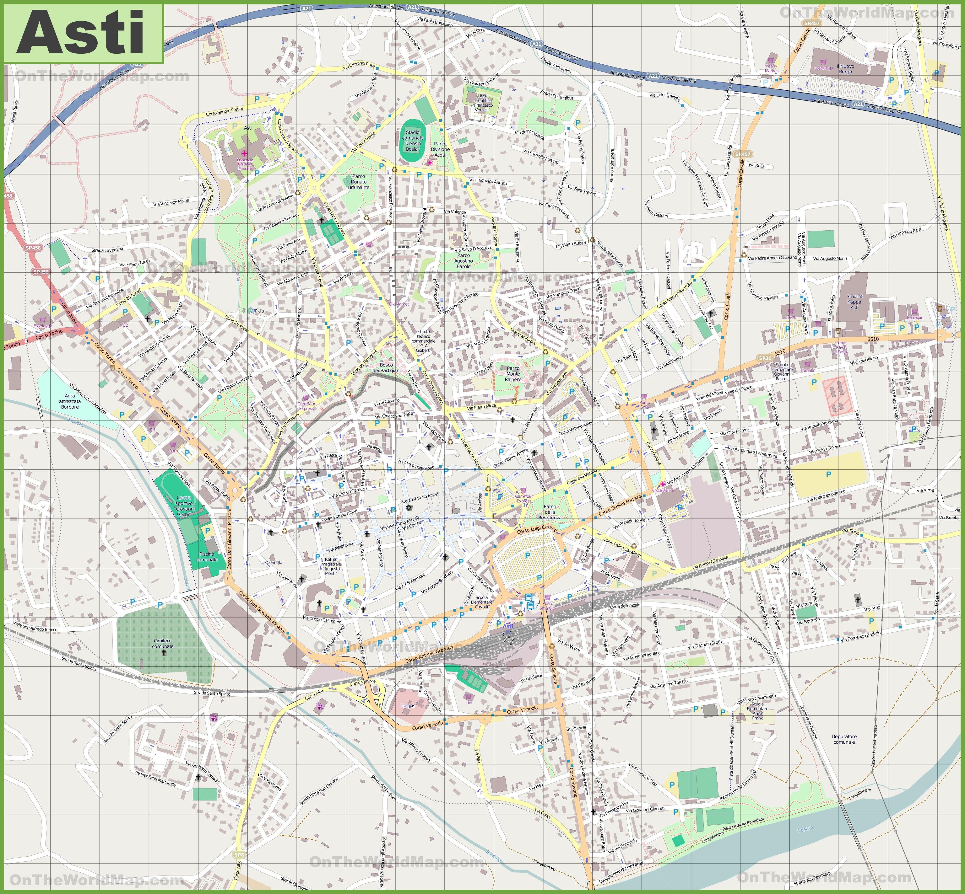 Large detailed map of Asti
