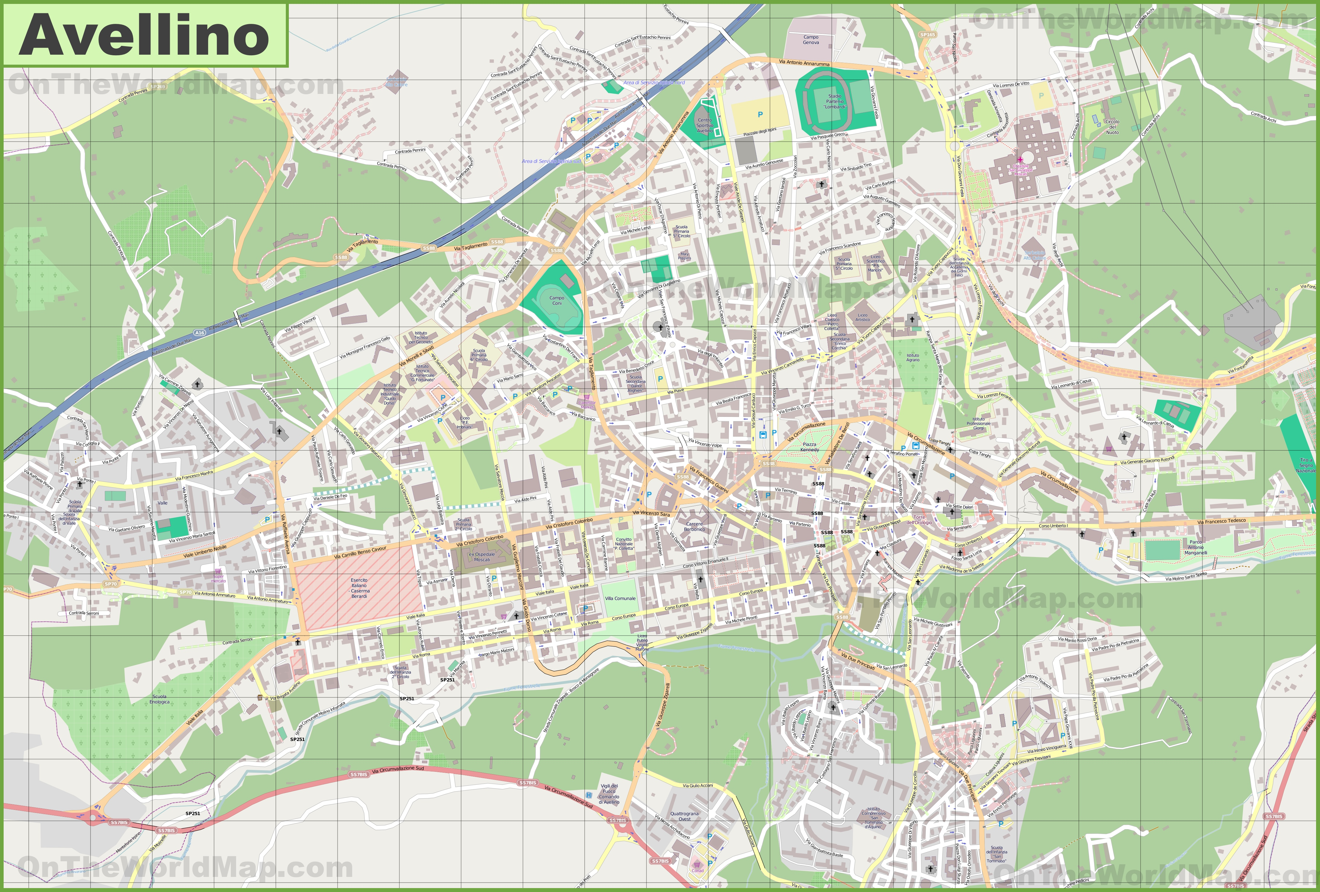 Large detailed map of Avellino