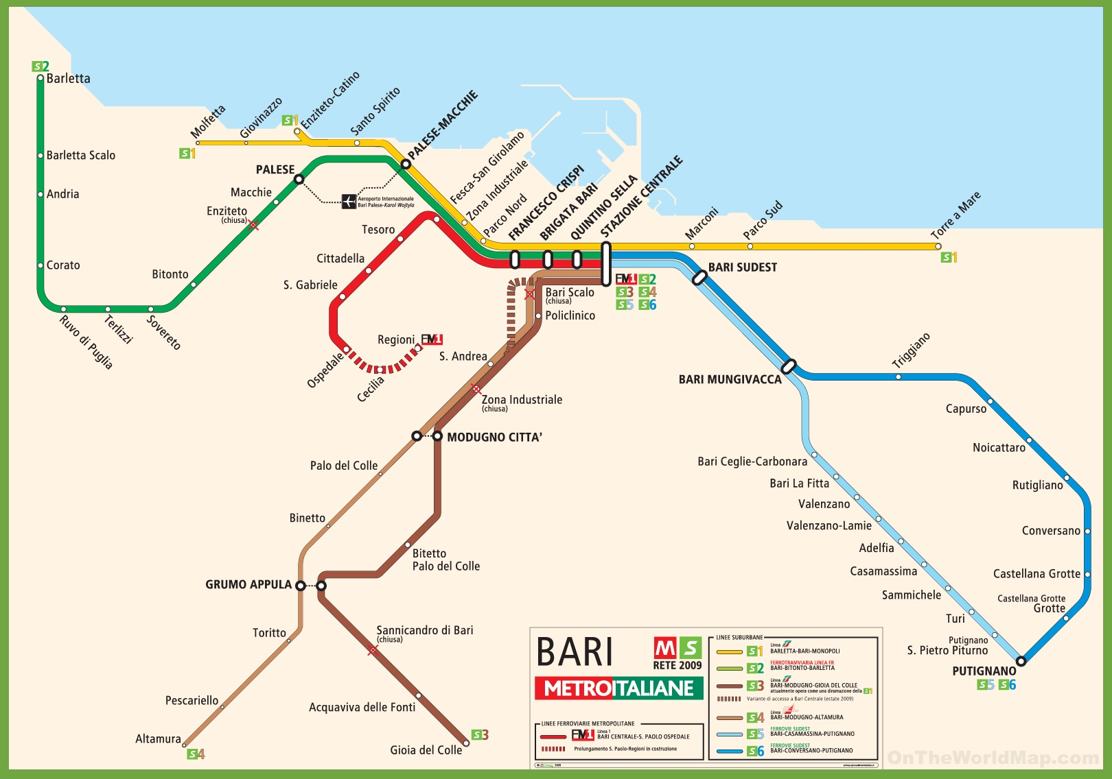 Rome Italy Subway Map.Bari Metro Map