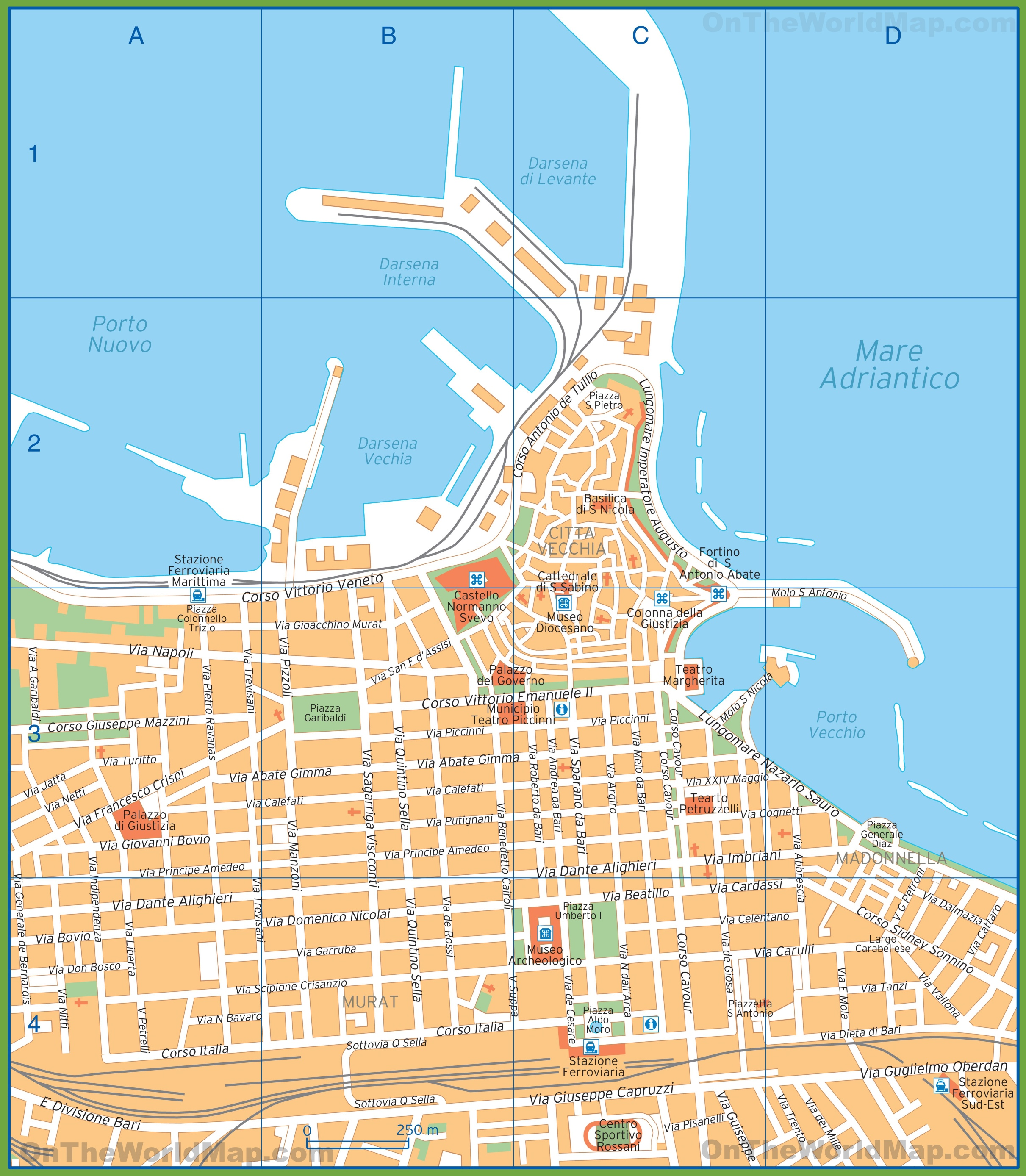 tourist map of bari city centre