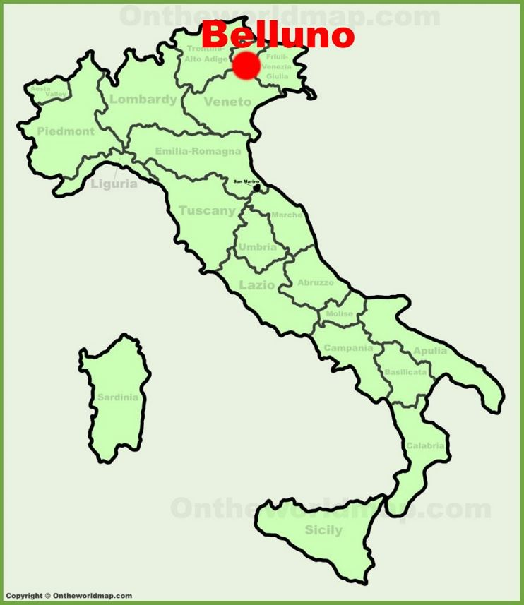 Belluno location on the Italy map