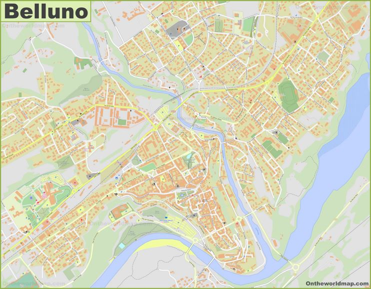 Detailed Map of Belluno