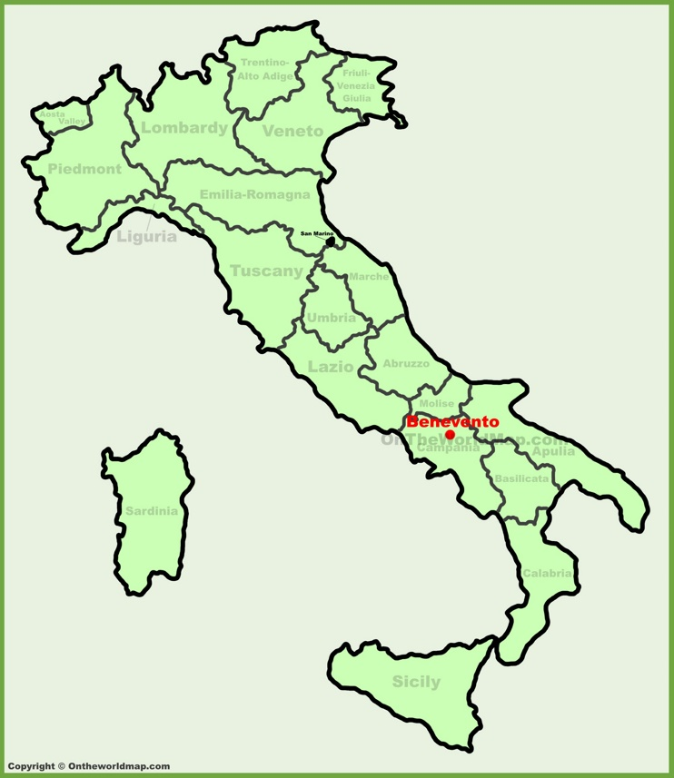 Benevento location on the Italy map