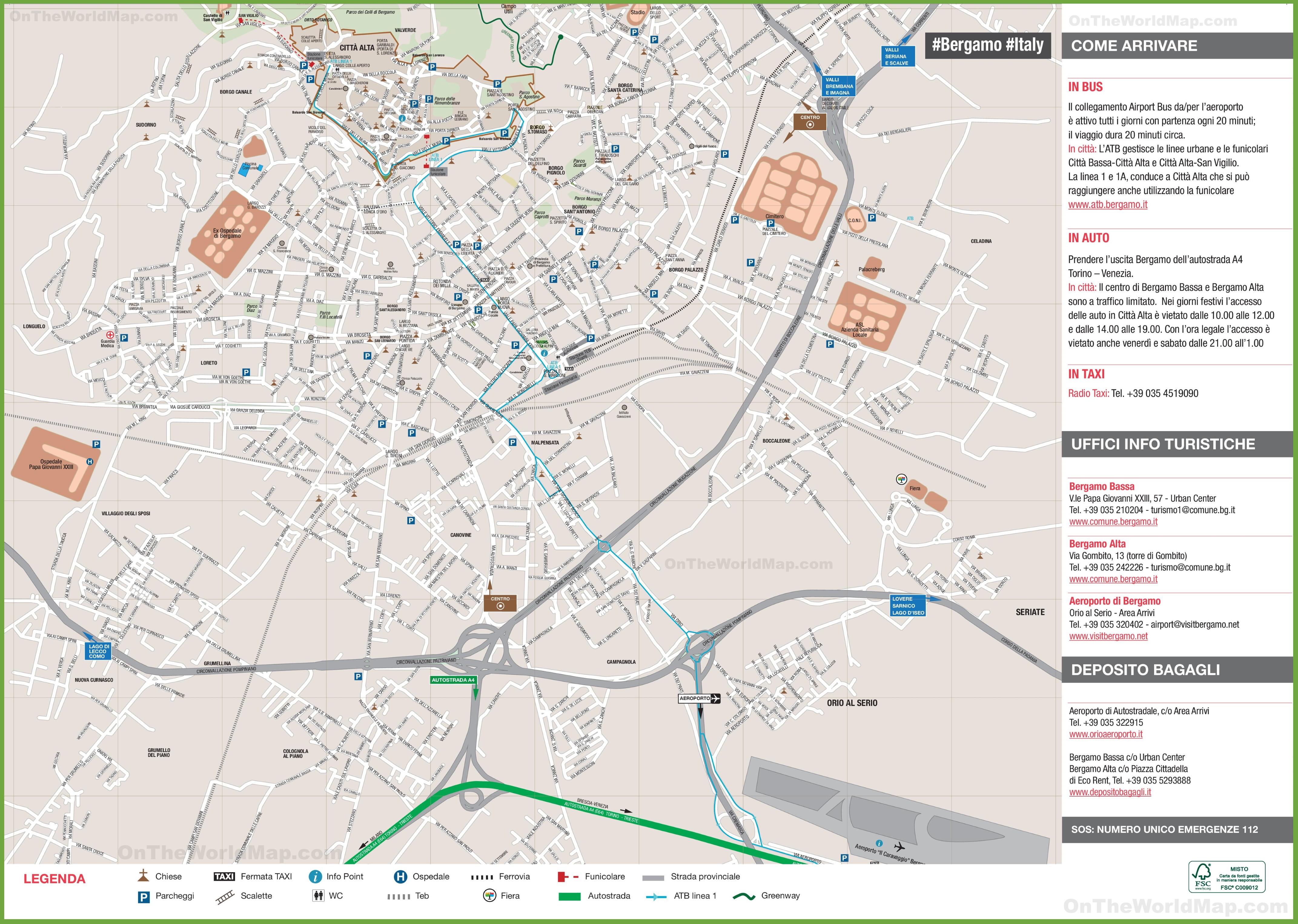Bergamo tourist map