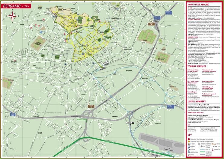 Large detailed tourist map of Bergamo