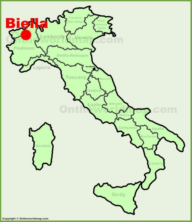 Biella location on the Italy map