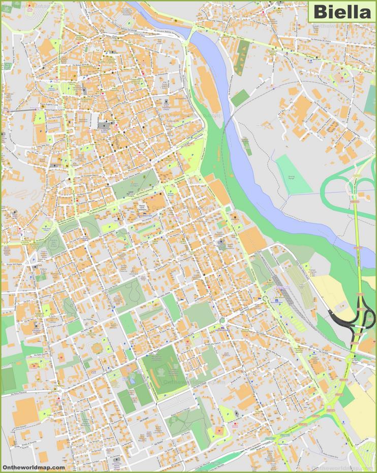 Detailed Map of Biella