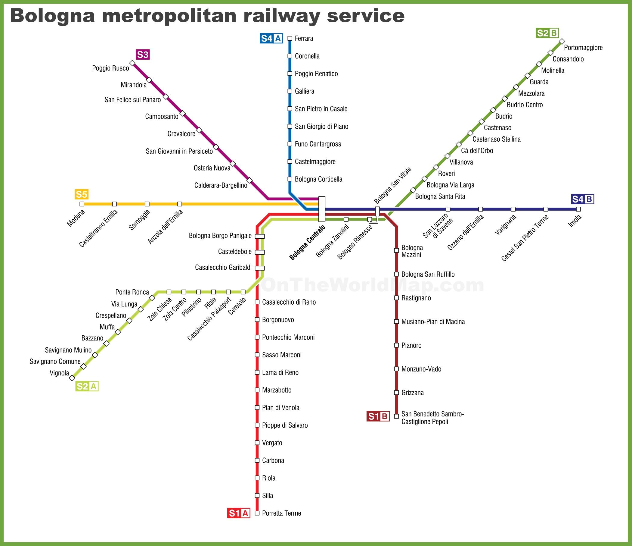 Bologna metropolitan railway service map