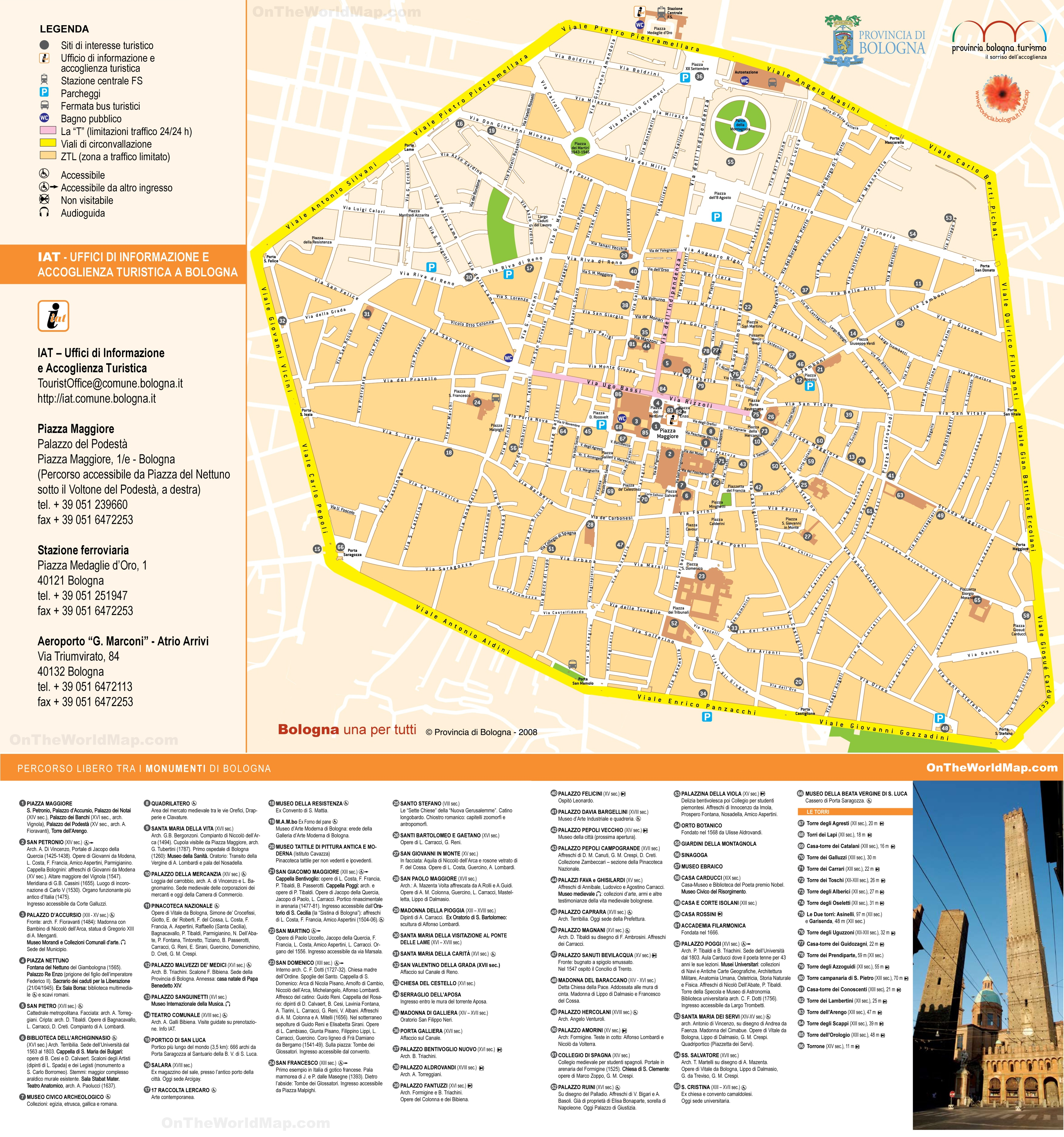 Bologna sightseeing map