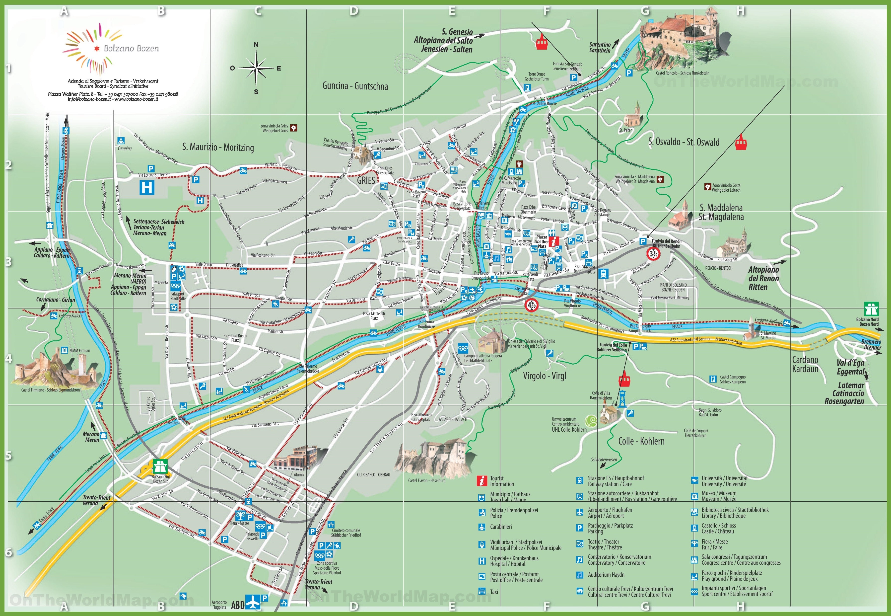 Bolzano sightseeing map