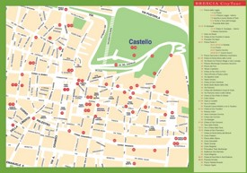 Tourist map of Brescia city centre