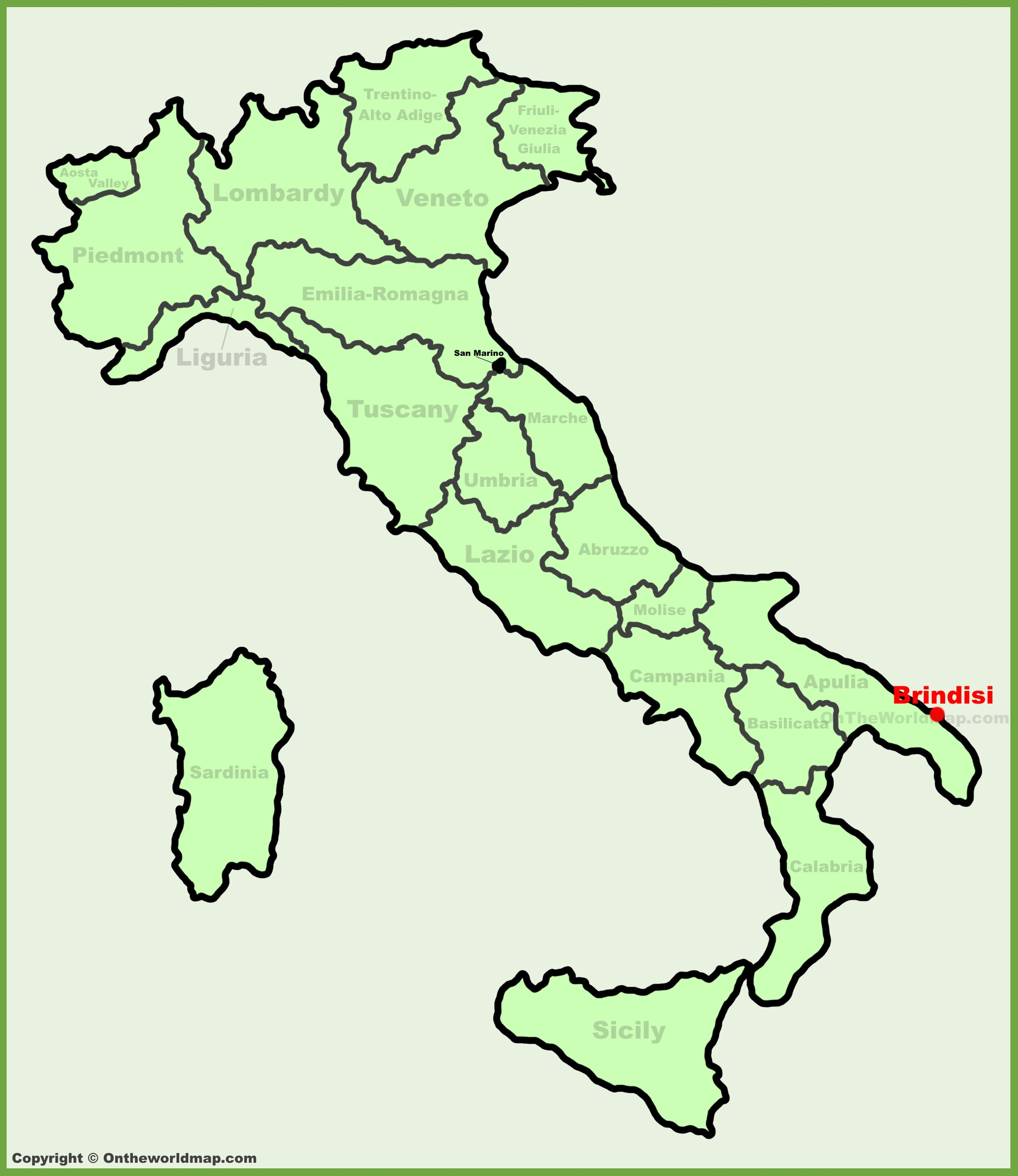 Brindisi location on the Italy map