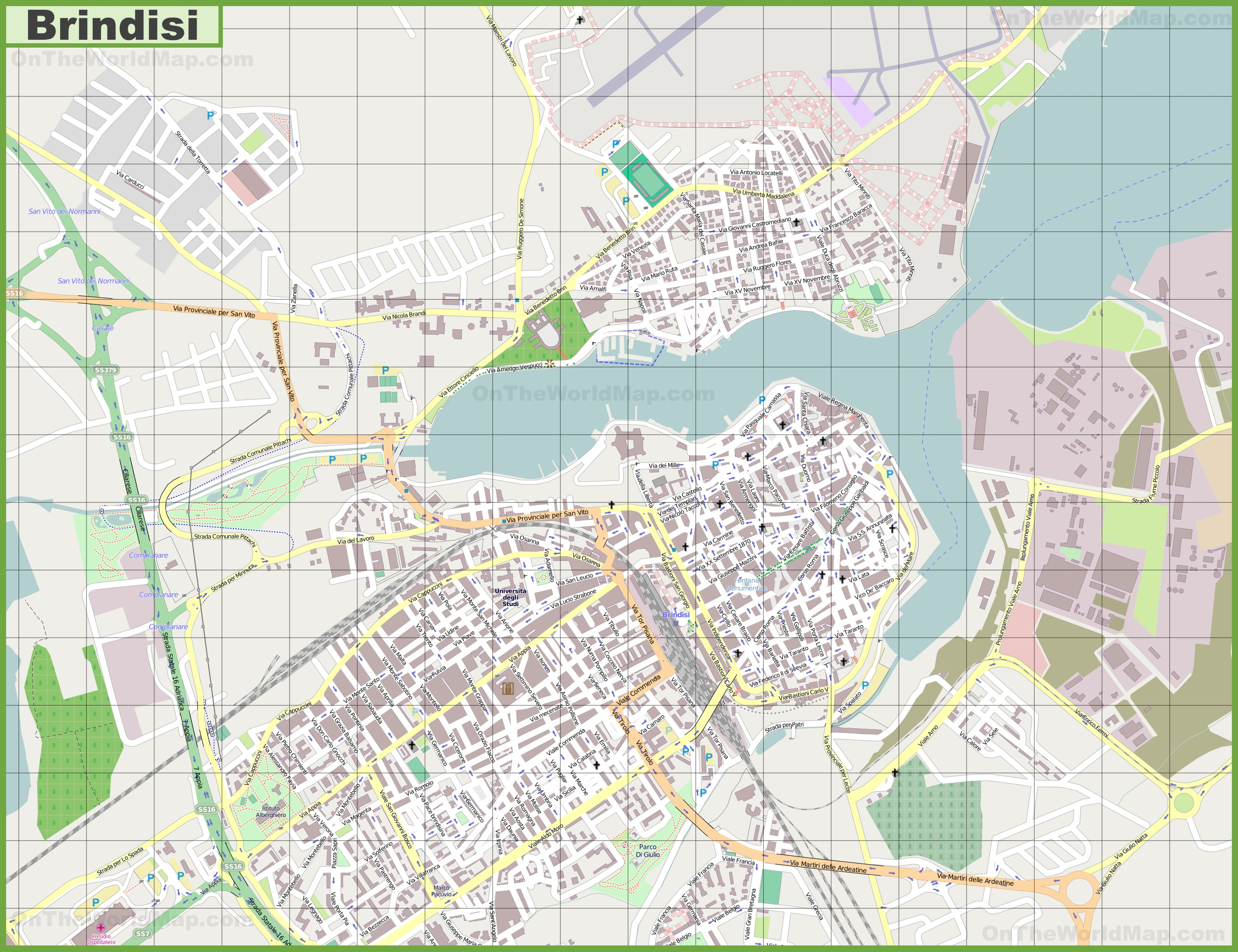 Large detailed map of Brindisi