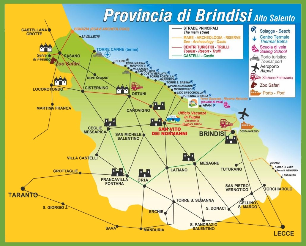Province of Brindisi tourist map