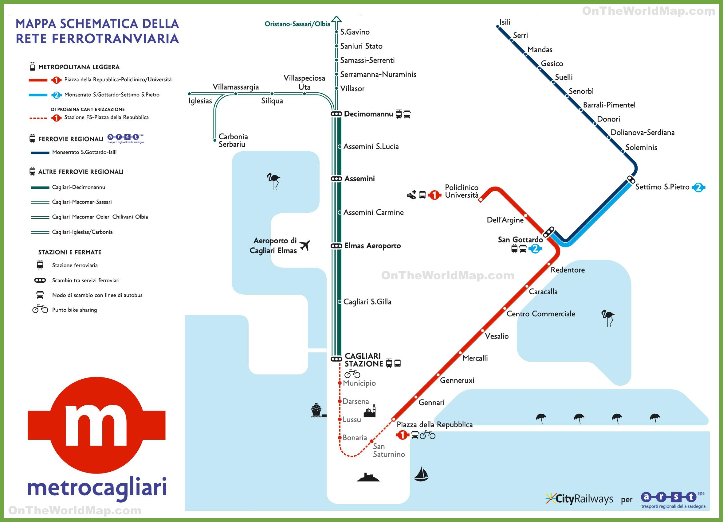Italy Metro Map.Cagliari Metro Map