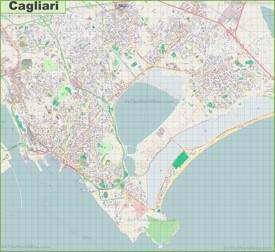 Large detailed map of Cagliari