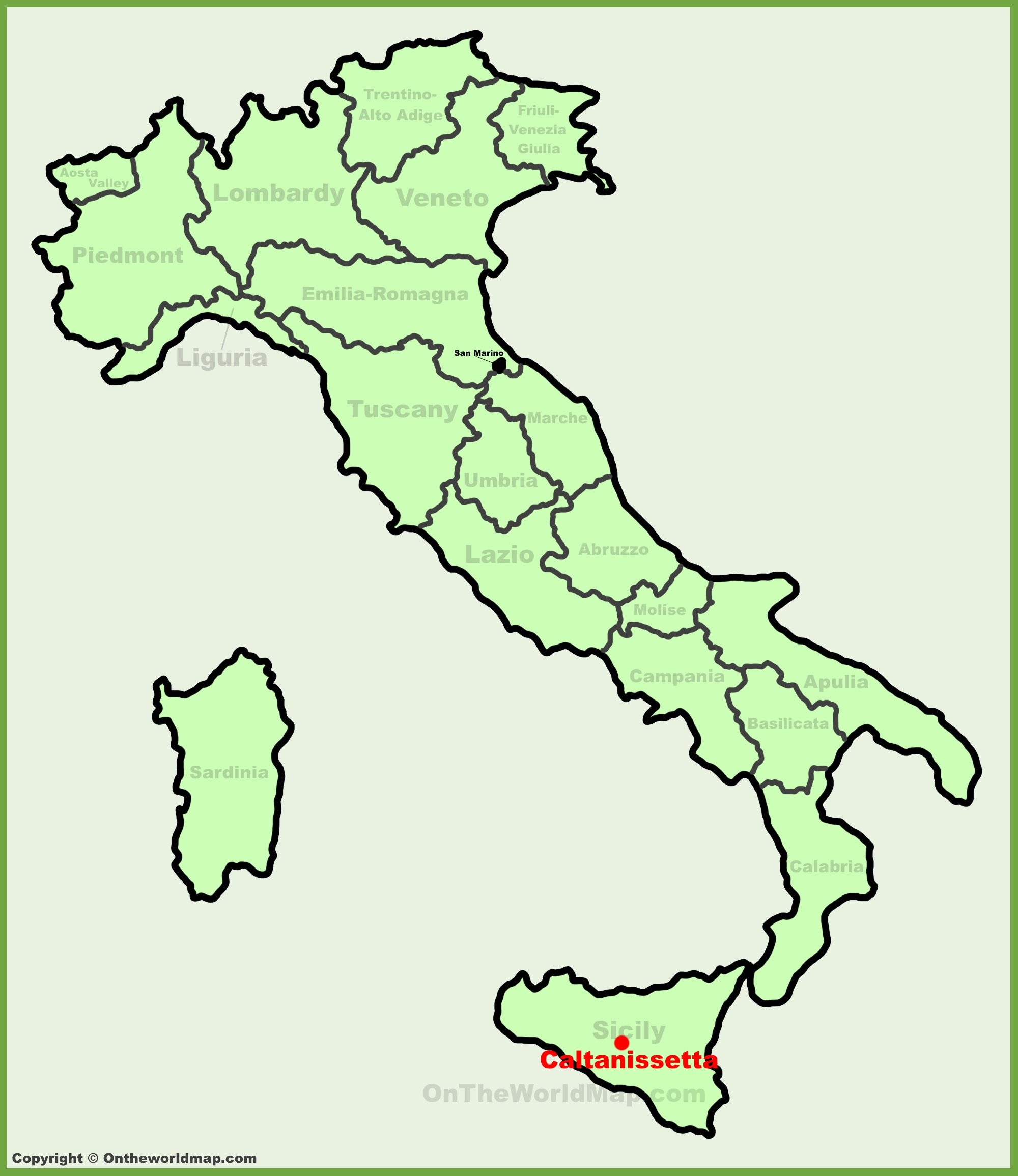 Caltanissetta location on the Italy map