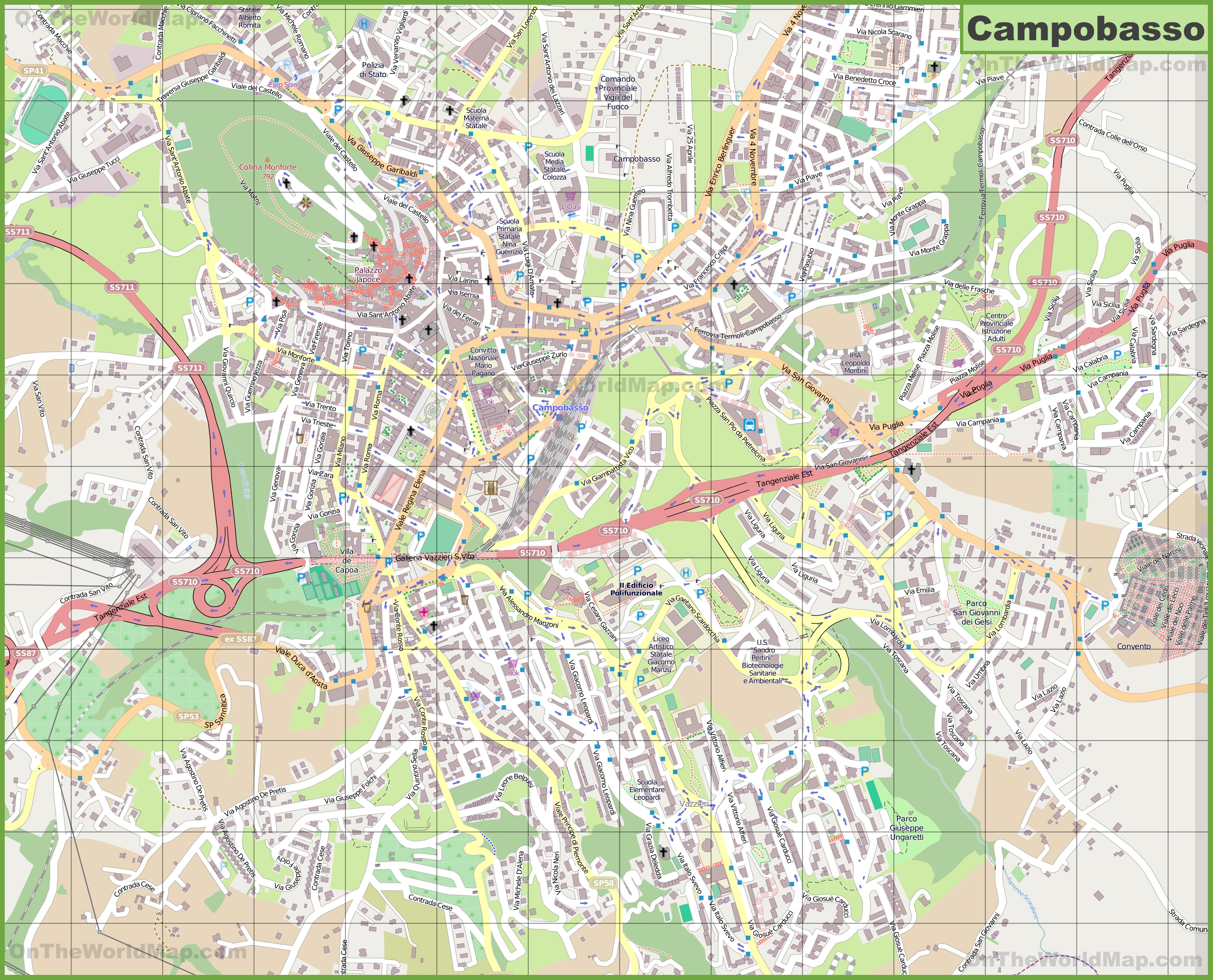 Large detailed map of Campobasso