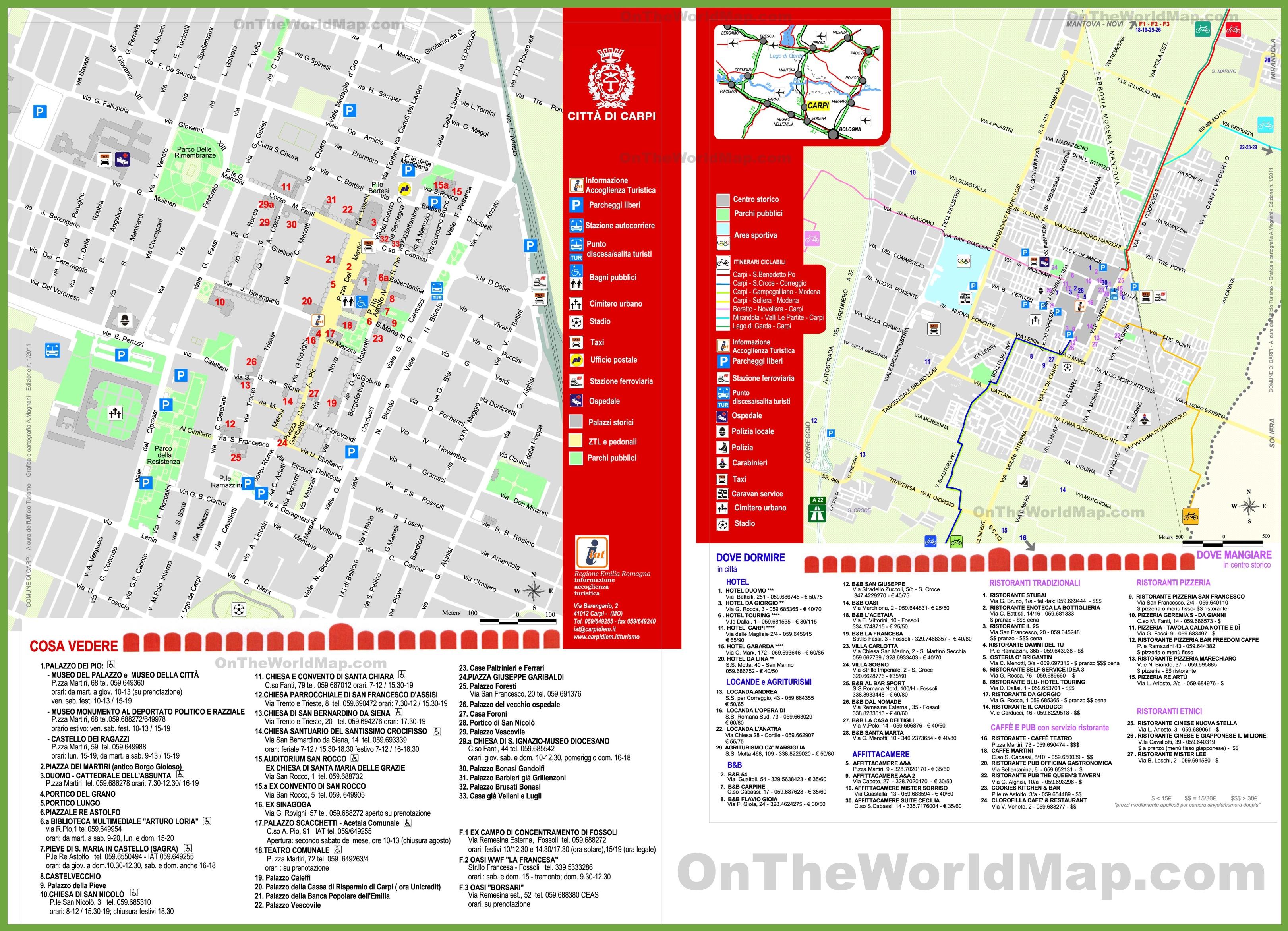 Carpi tourist map