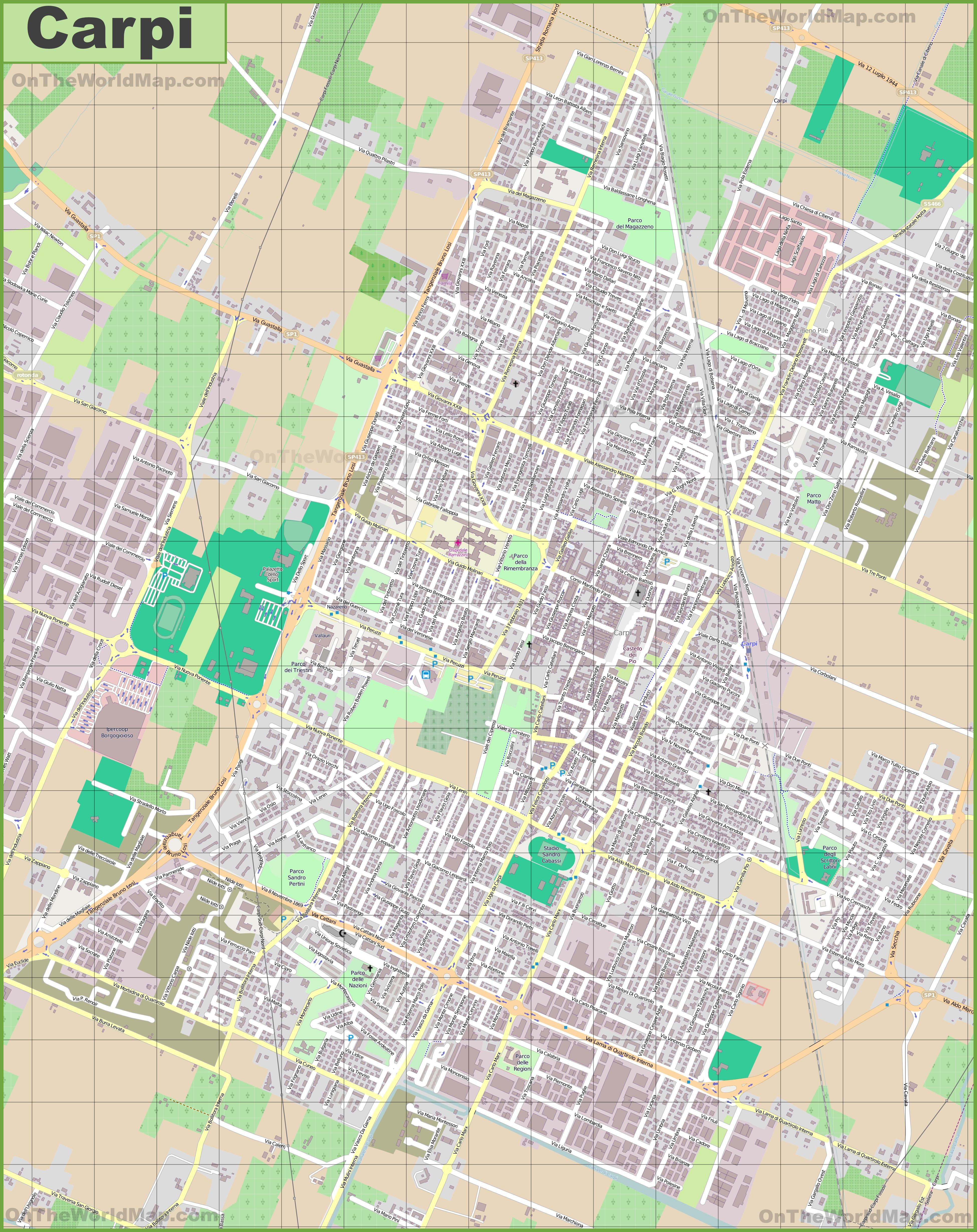 Large detailed map of Carpi