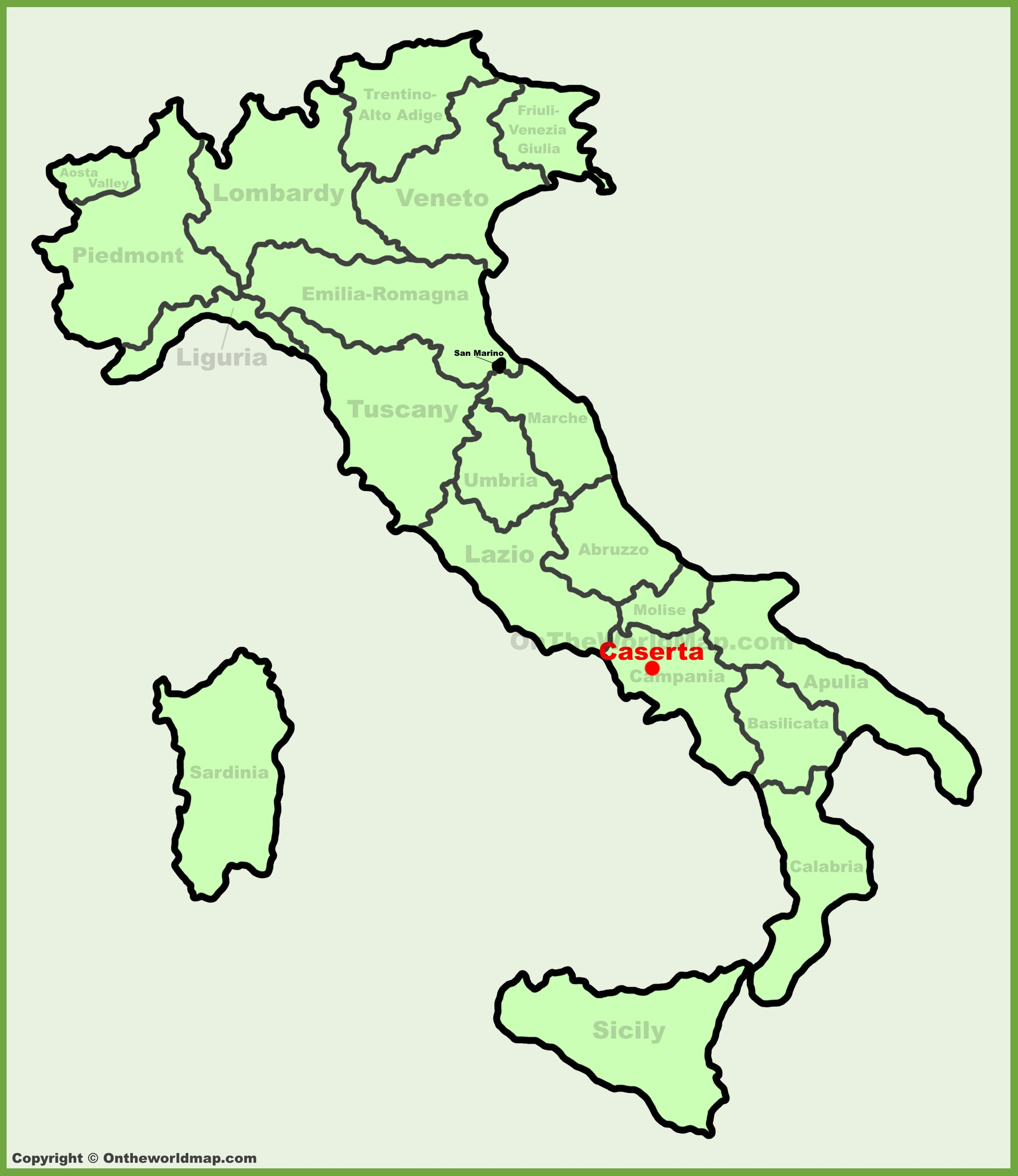 Caserta location on the Italy map