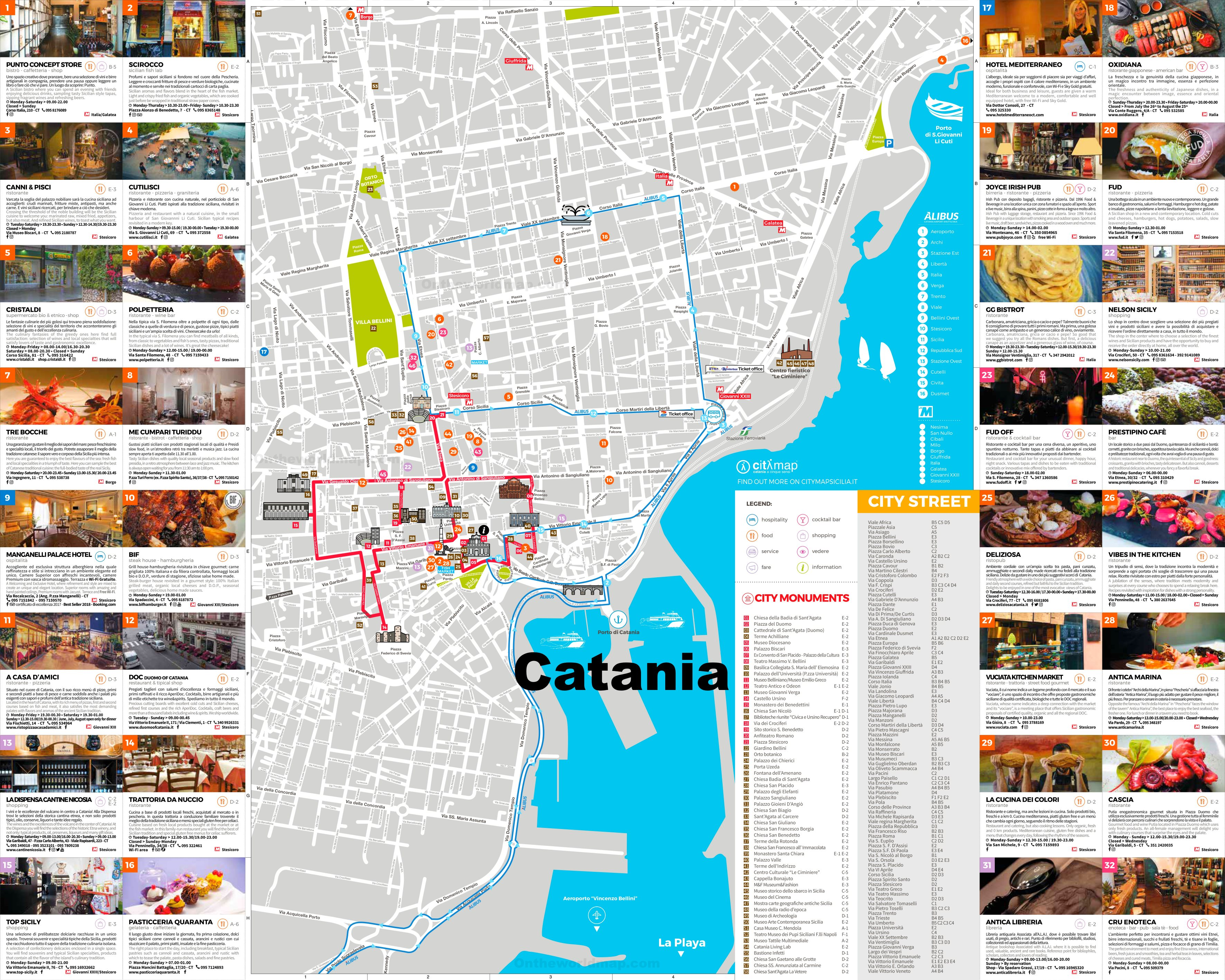 Catania Tourist Attractions Map