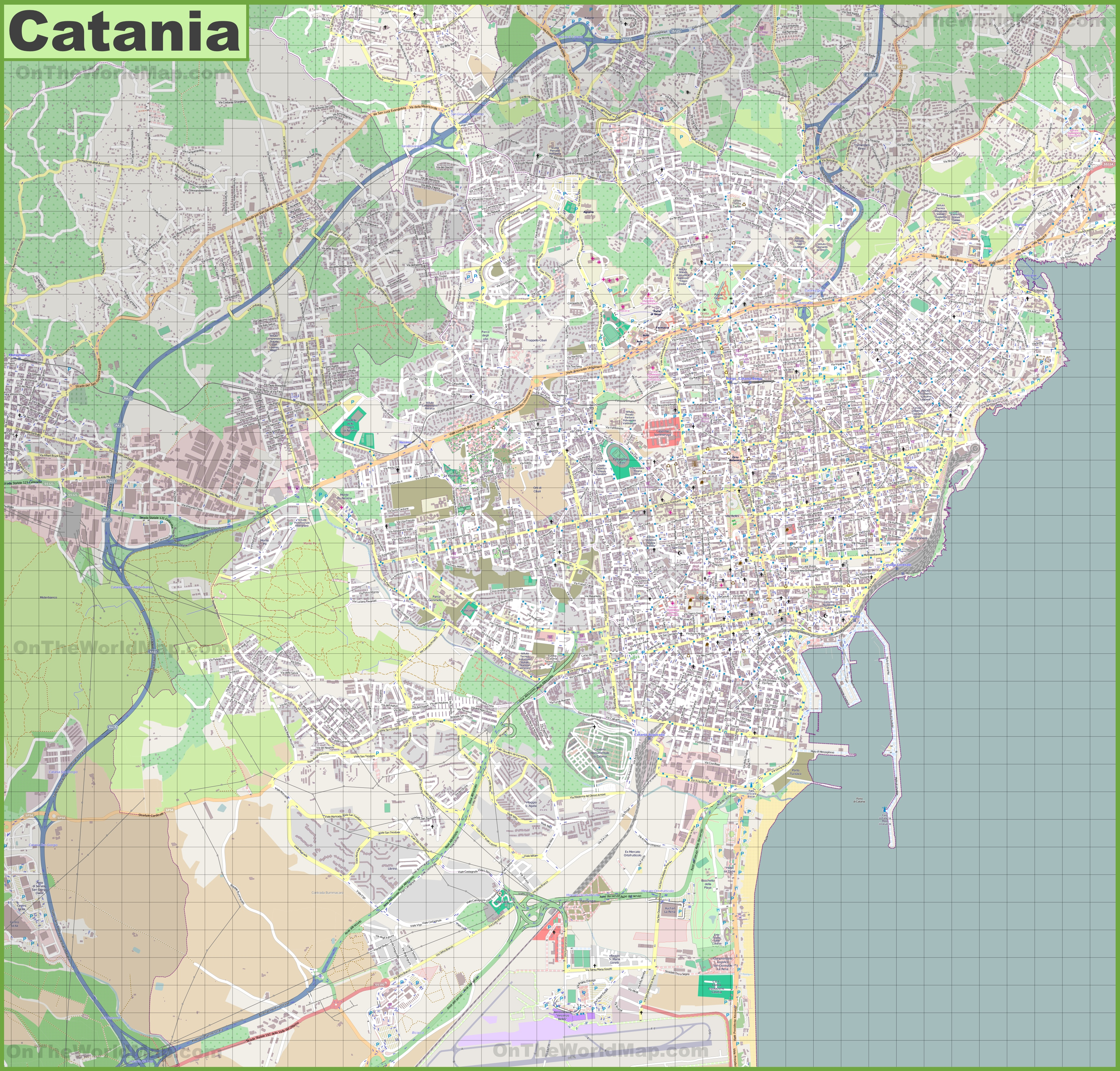 Large detailed map of Catania