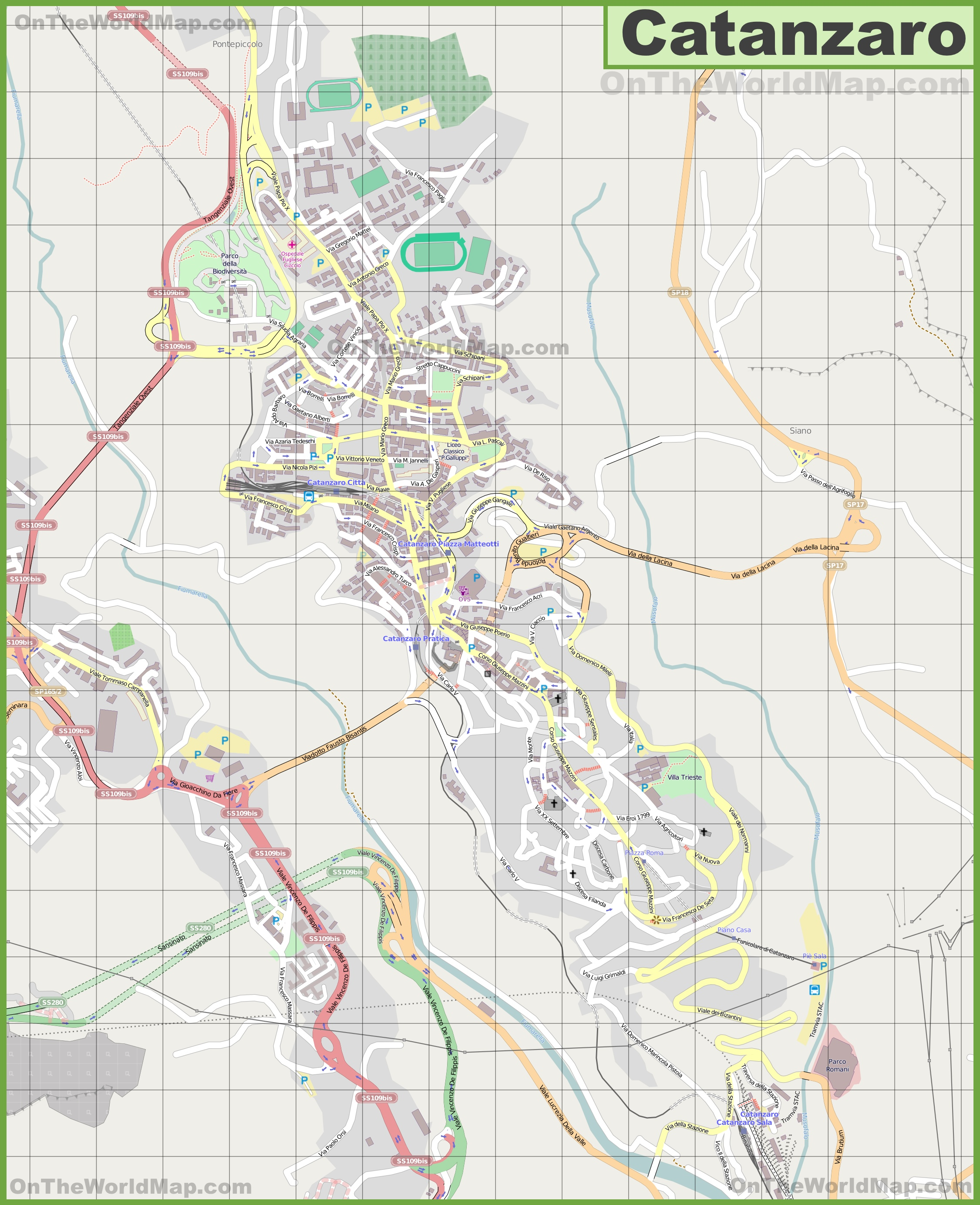 Large detailed map of Catanzaro