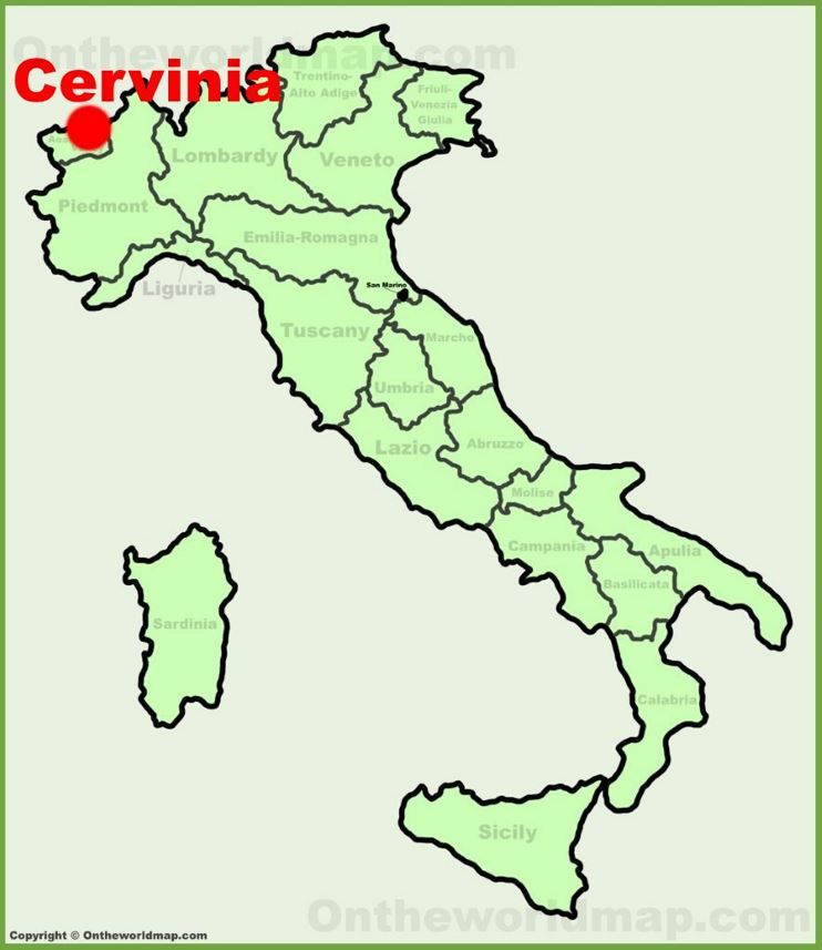 Cervinia location on the Italy map