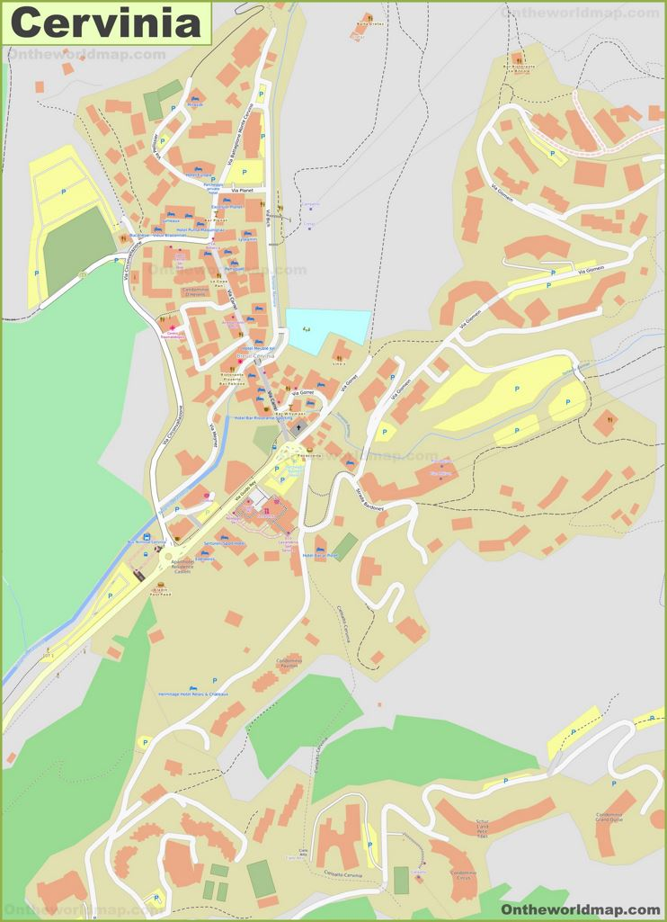 Detailed Map of Cervinia