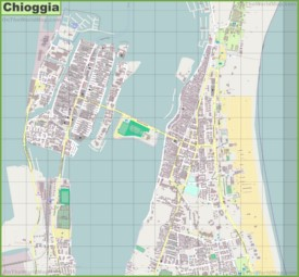 Large detailed map of Chioggia