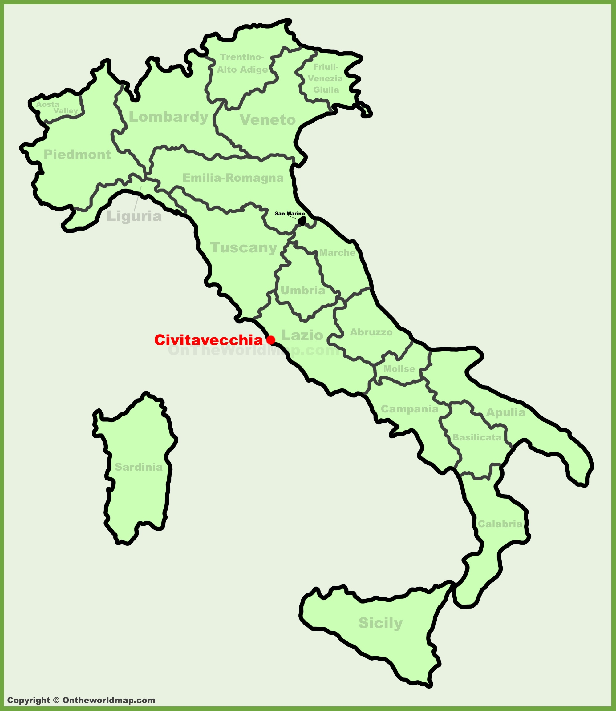 Civitavecchia location on the Italy map