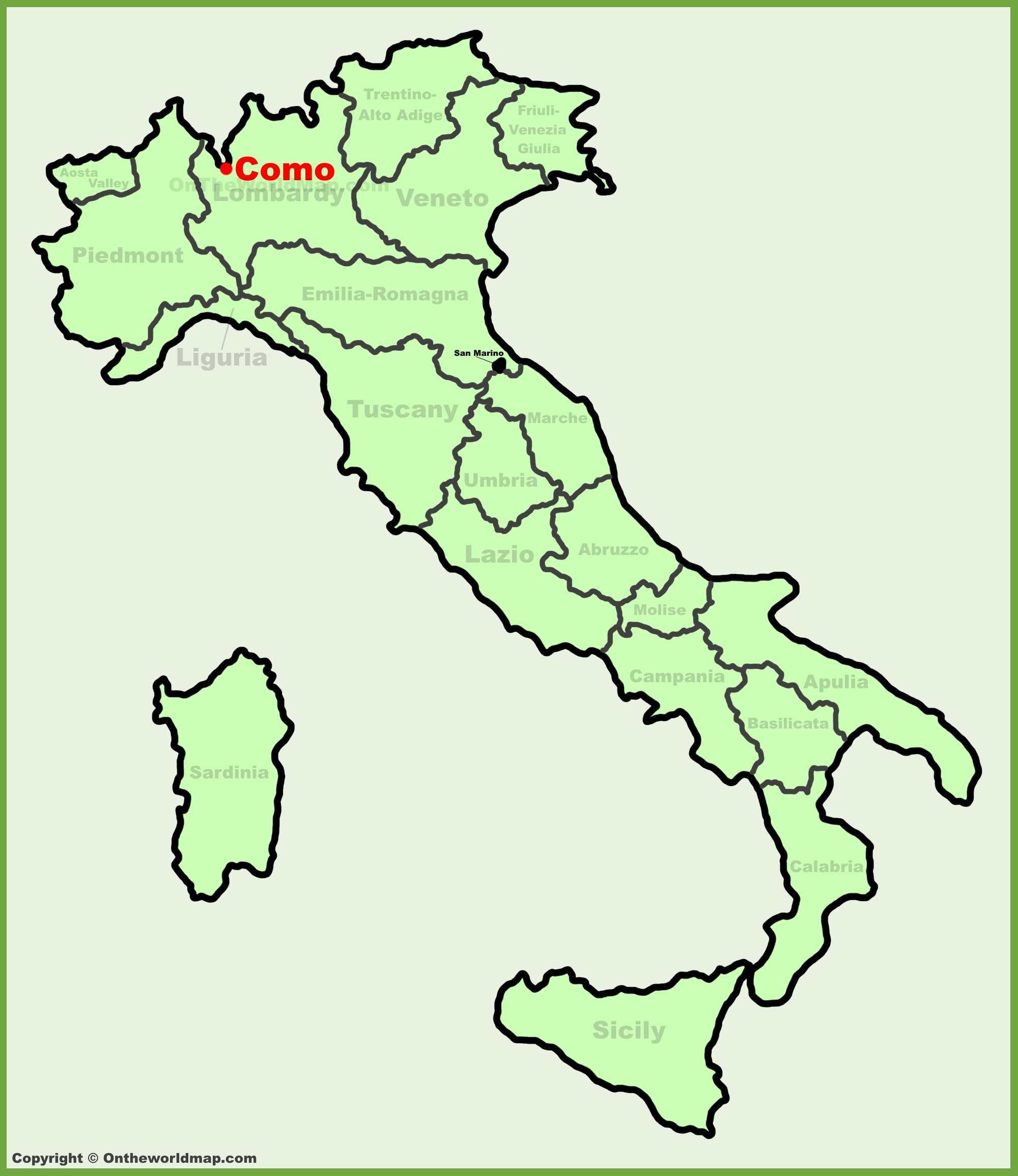 Como location on the Italy map