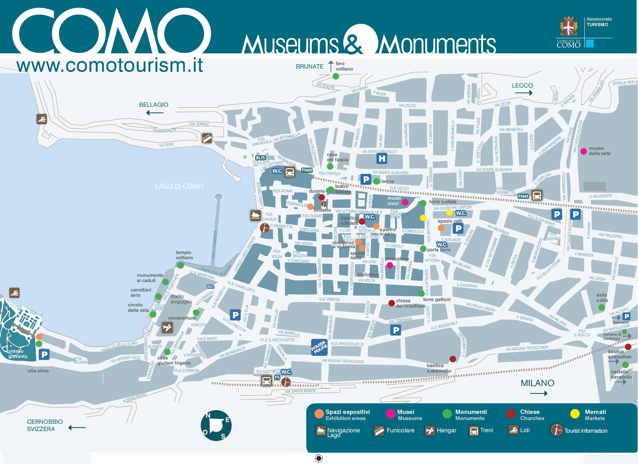 Como tourist attractions map – Italy Tourist Attractions Map