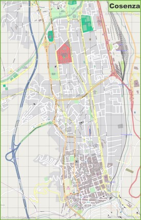 Large detailed map of Cosenza