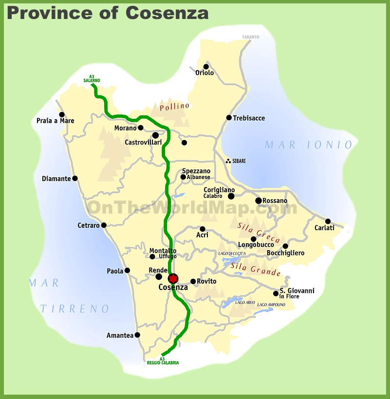 Province of Cosenza map