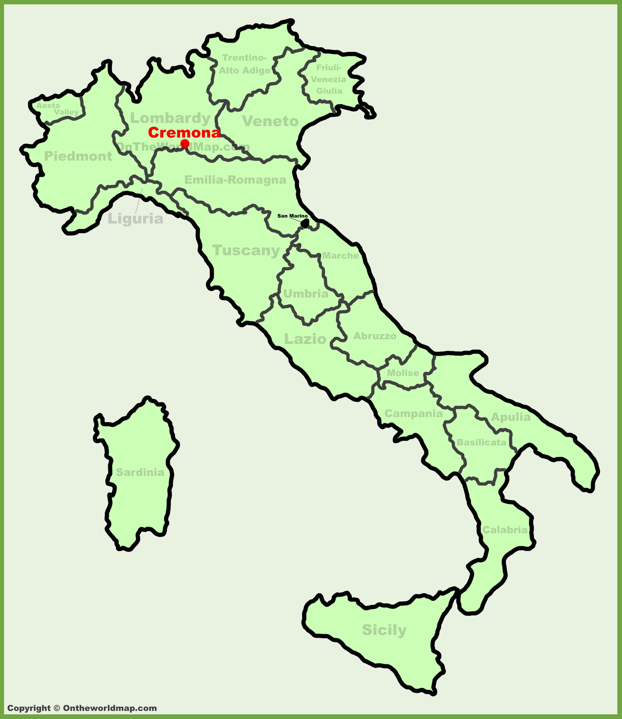 Cremona location on the Italy map