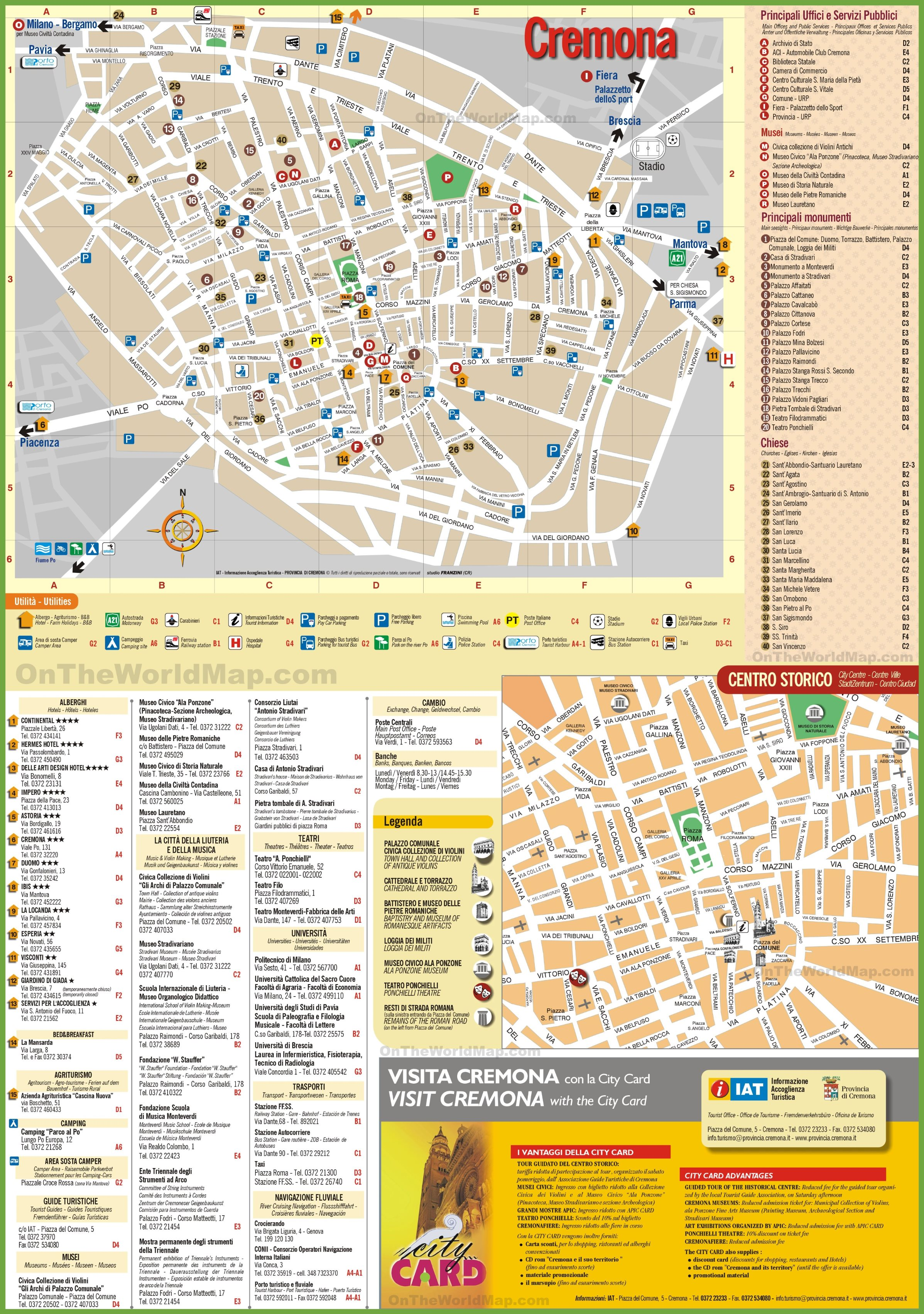 Cremona tourist map