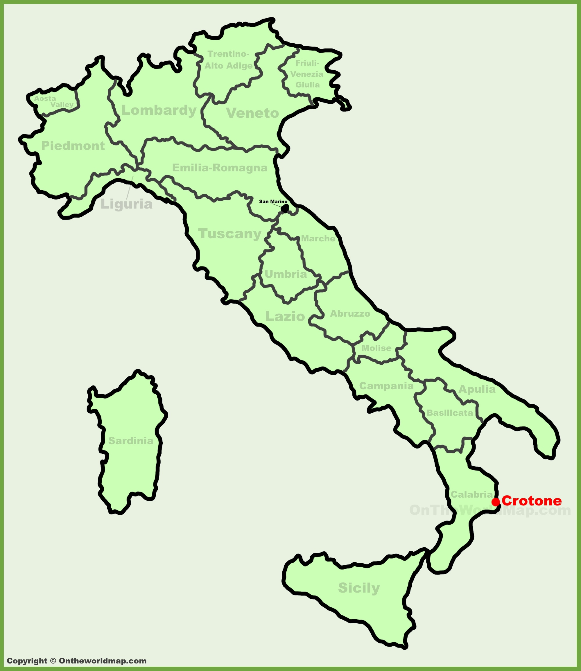 Crotone location on the Italy map