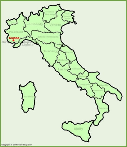 Cuneo Location Map