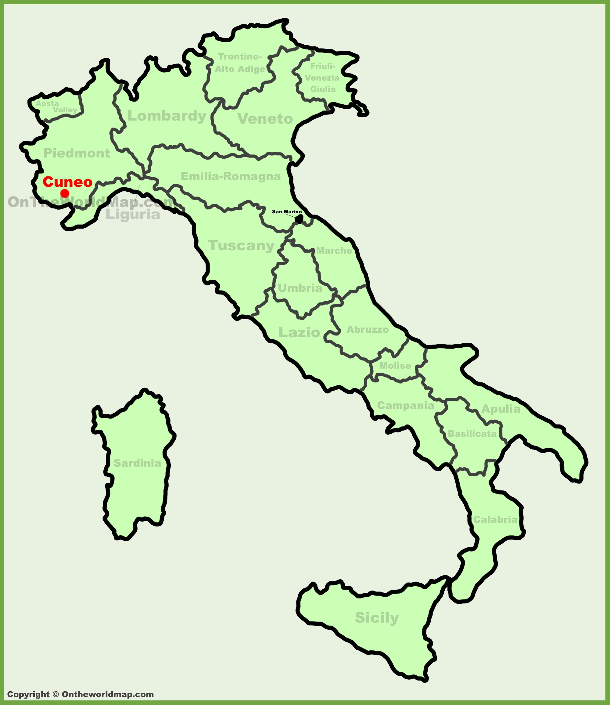 Cuneo location on the Italy map