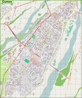 Large detailed map of Cuneo