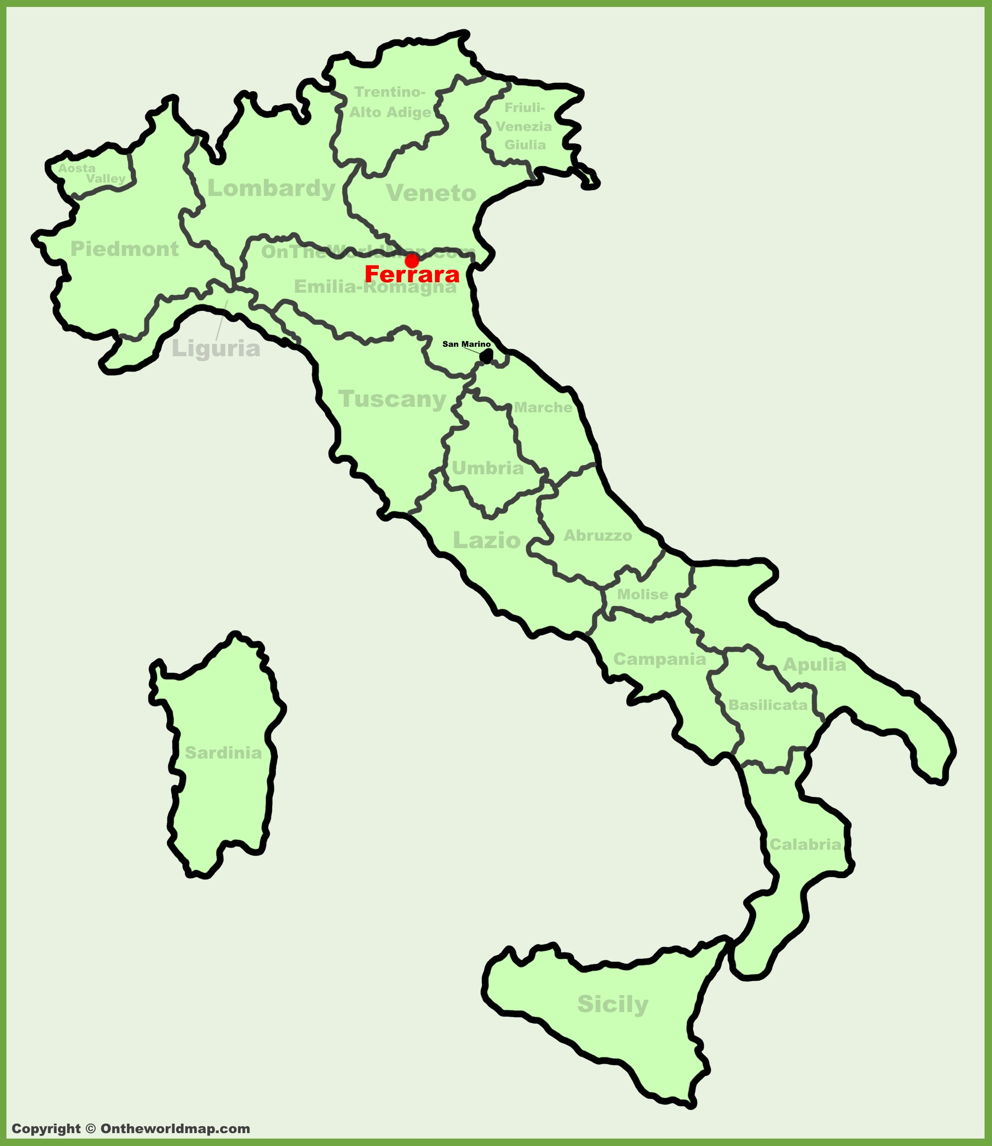 Ferrara location on the Italy map