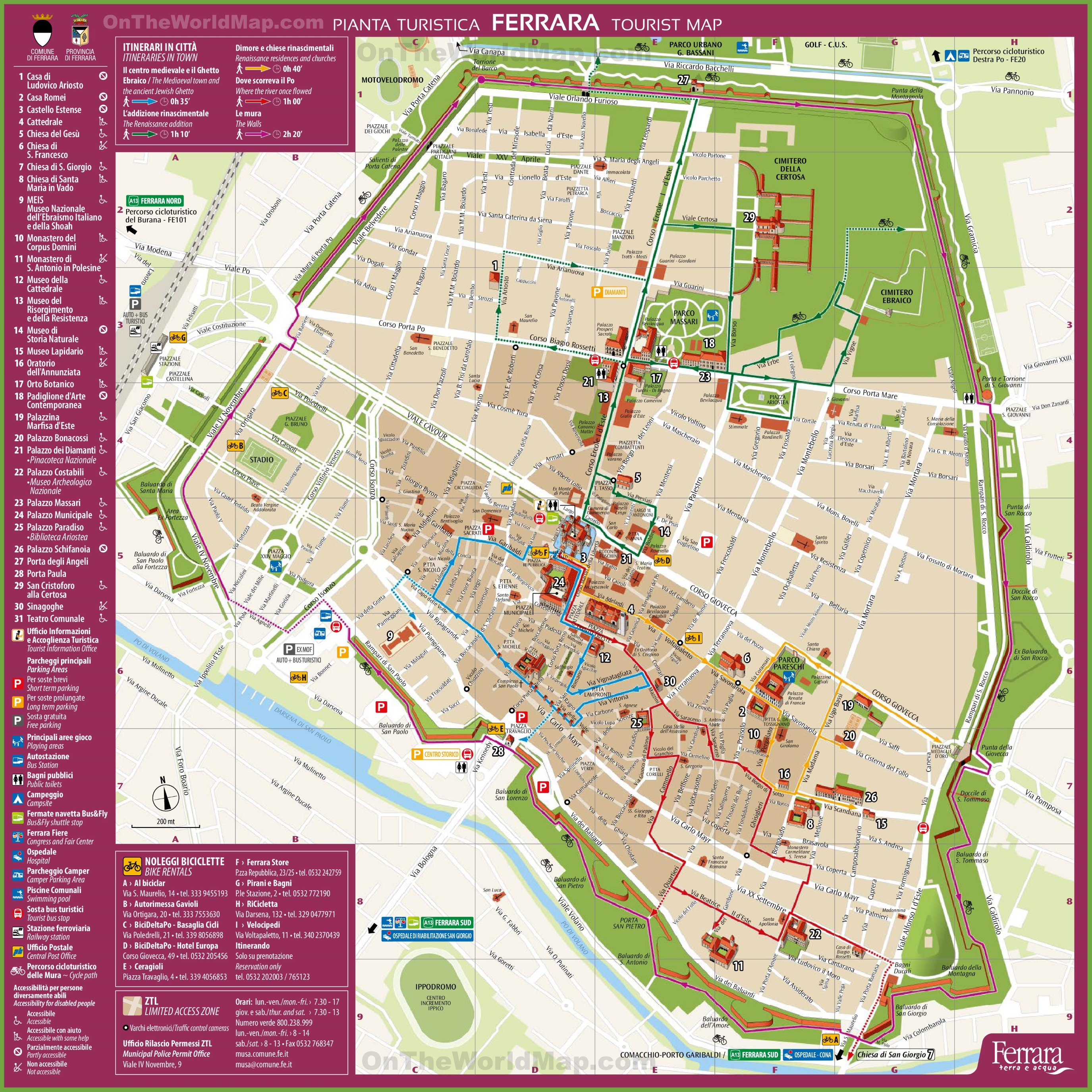Ferrara tourist map – Tourist Map Of Italy