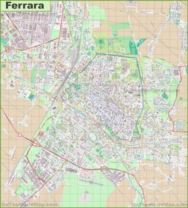 Large detailed map of Ferrara